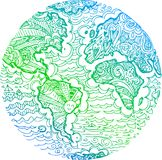 Griffonnage esquissé par vert de la terre de planète Images stock