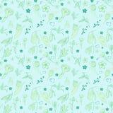Griffonnage floral de mod?le sans couture bleu-clair illustration stock