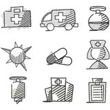 Griffonnage : Graphismes médicaux Photo libre de droits