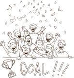 Griffonnage heureux de défenseurs du football illustration libre de droits