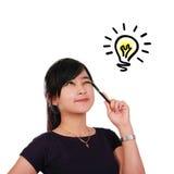 Griffonnage lumineux d'ampoule de femme Photos libres de droits