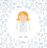 Griffonnage médical d'icônes Illustration de vecteur Photo stock