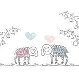 Griffonnage mignon de moutons de carte postale d'amour Images libres de droits