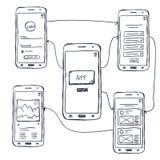 Griffonnage mobile de wireframe d'UI APP images libres de droits