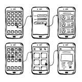 Griffonnage mobile de wireframe d'UI APP photographie stock libre de droits