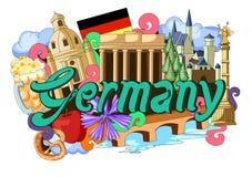 Griffonnage montrant l'architecture et la culture de l'Allemagne Image stock