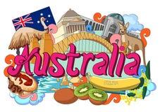 Griffonnage montrant l'architecture et la culture de l'Australie Images stock
