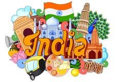 Griffonnage montrant l'architecture et la culture de l'Inde Image libre de droits