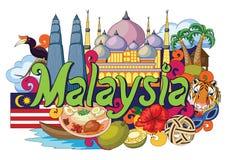 Griffonnage montrant l'architecture et la culture de la Malaisie Photos stock