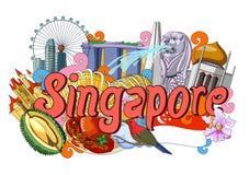 Griffonnage montrant l'architecture et la culture de Singapour Photo libre de droits