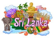 Griffonnage montrant l'architecture et la culture de Sri Lanka Image libre de droits