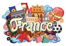 Griffonnage montrant l'architecture et la culture des Frances Images stock