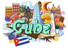 Griffonnage montrant l'architecture et la culture du Cuba illustration stock
