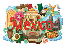 Griffonnage montrant l'architecture et la culture du Mexique Image libre de droits