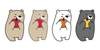 Griffonnage orange d'illustration de personnage de dessin animé de pomme de logo d'icône d'ours blanc de vecteur d'ours illustration de vecteur