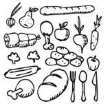Griffonnage plat d'icône de fruit végétal de nourriture Photo stock