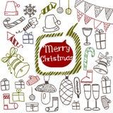 Griffonnage réglé d'icônes de Noël Photos stock