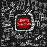 Griffonnage réglé d'icônes de Noël Photo libre de droits