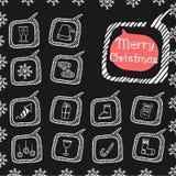 Griffonnage réglé d'icônes de Noël Images libres de droits
