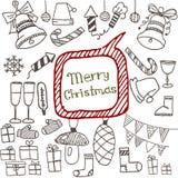 Griffonnage réglé d'icônes de Noël Photographie stock libre de droits