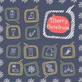 Griffonnage réglé d'icônes de Noël Photo stock