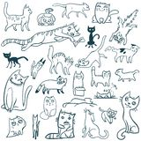 Griffonnage réglé par chats Photo libre de droits
