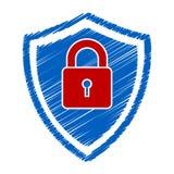 Griffonnage sûr de logo d'abrégé sur protection Image stock