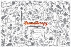 Griffonnage tiré par la main d'Aromatherapy réglé avec le lettrage Image stock