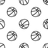 Griffonnage tiré par la main de basket-ball de modèle sans couture Ic?ne de jouet pour enfants de croquis ?l?ment de d?coration D illustration libre de droits