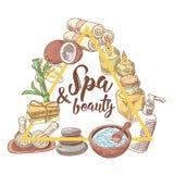 Griffonnage tiré par la main de beauté de bien-être de salon de station thermale Ensemble d'éléments de santé d'Aromatherapy Trai illustration stock