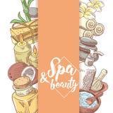 Griffonnage tiré par la main de beauté de bien-être de salon de station thermale Ensemble d'éléments de santé d'Aromatherapy Trai Image libre de droits