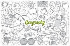 Griffonnage tiré par la main de géographie réglé avec le lettrage illustration libre de droits