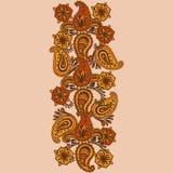 Griffonnage tiré par la main de Henna Mehndi Abstract Mandala Flowers et de Paisley Photographie stock