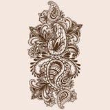 Griffonnage tiré par la main de Henna Mehndi Abstract Mandala Flowers et de Paisley Photographie stock libre de droits
