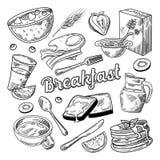 Griffonnage tiré par la main de petit déjeuner sain Croquis de nourriture et de boissons Crêpes jus et fruits de cornflakes illustration stock