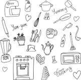 Griffonnage tiré par la main de vecteur des accessoires de cuisine illustration libre de droits