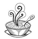 Griffonnage tiré par la main simple noir et blanc d'un bol de soupe illustration de vecteur