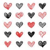 Griffonnage Valentine Hearts Set tiré par la main de vecteur Illustration Stock