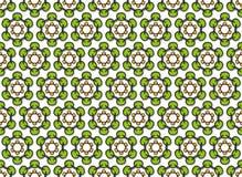 Griffonnage vert des fleurs hexagonales photographie stock libre de droits
