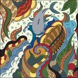 Griffonnages abstraits dans le style nautique Profondeurs et habitants de mer illustration de vecteur