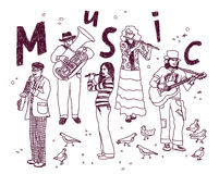 Griffonnages blancs d'encre d'isolat de personnes de groupe de musique Images libres de droits