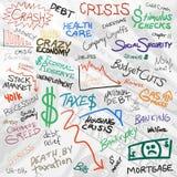 Griffonnages d'économie Image stock