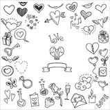 Griffonnages d'amour et de coeurs Photo stock