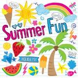 Griffonnages d'amusement d'été (vecteur) Images stock