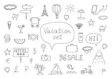 Griffonnages d'icônes de vacances Photos stock