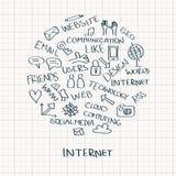 Griffonnages d'Internet en cercle Image libre de droits