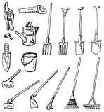 Griffonnages d'outils de jardinage Images libres de droits