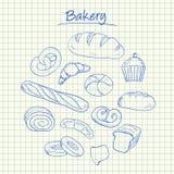 Griffonnages de boulangerie - papier carré Image stock