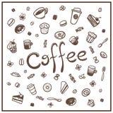 Griffonnages de café réglés Images libres de droits