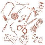 Griffonnages de couture et de tricotage Image libre de droits